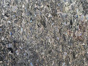 Close-up of Ambra Blue granite slab